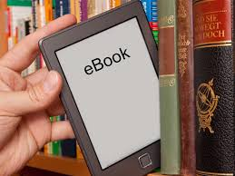 ebook reader between books on a shelf