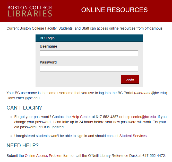 screenshot of off-campus login for databases
