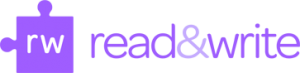 read and write logo a purple puzzle piece