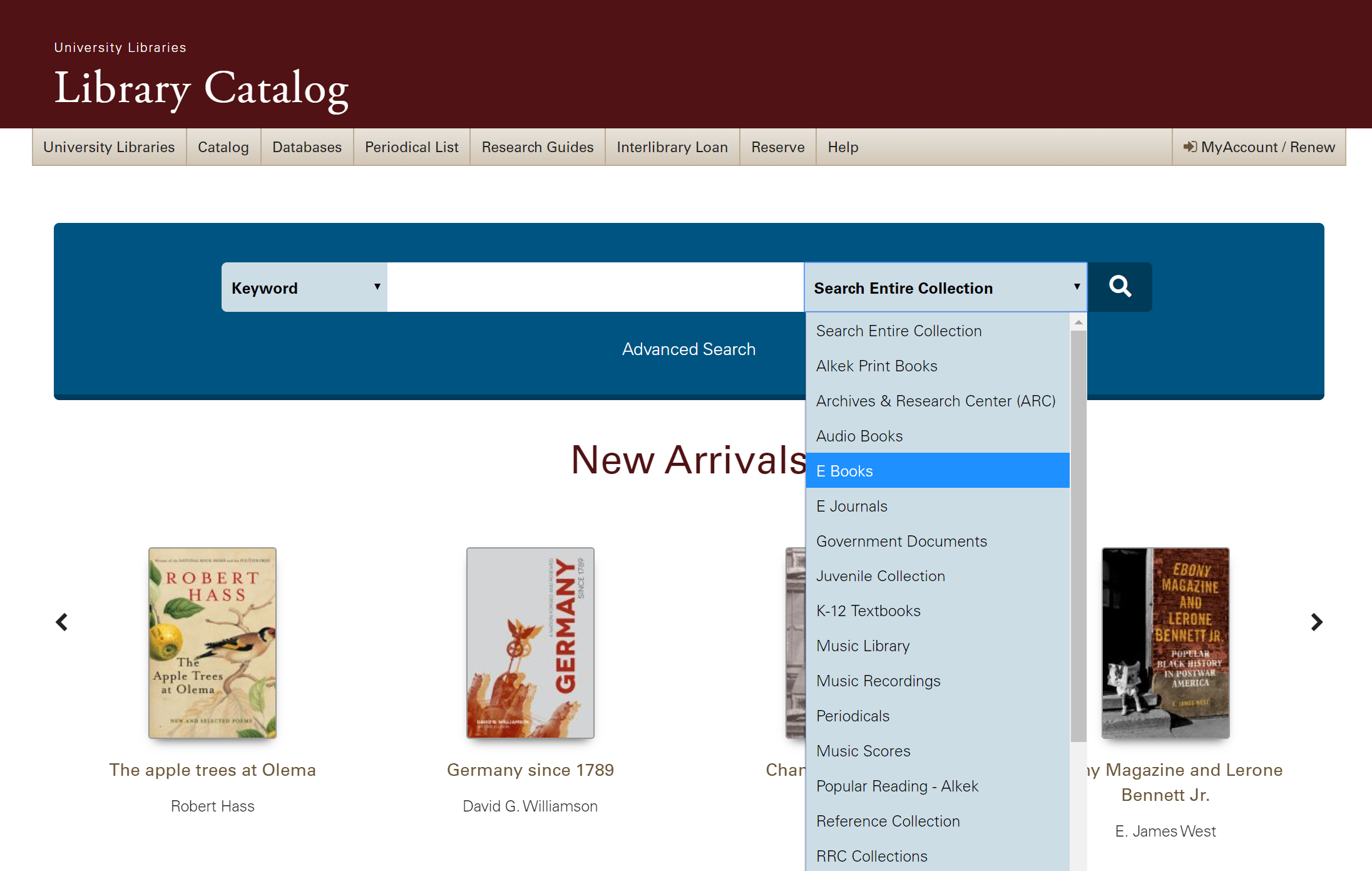 A screenshot of the library catalog, showing the dropdown menu that limits results to ebooks only.