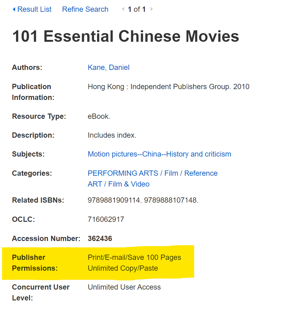 "A screenshot of an EBSCO ebook record in a database. The highlighted text reads ""Publisher Permissions: Print/E-mail/Save 100 Pages, Unlimited Copy/Paste."""