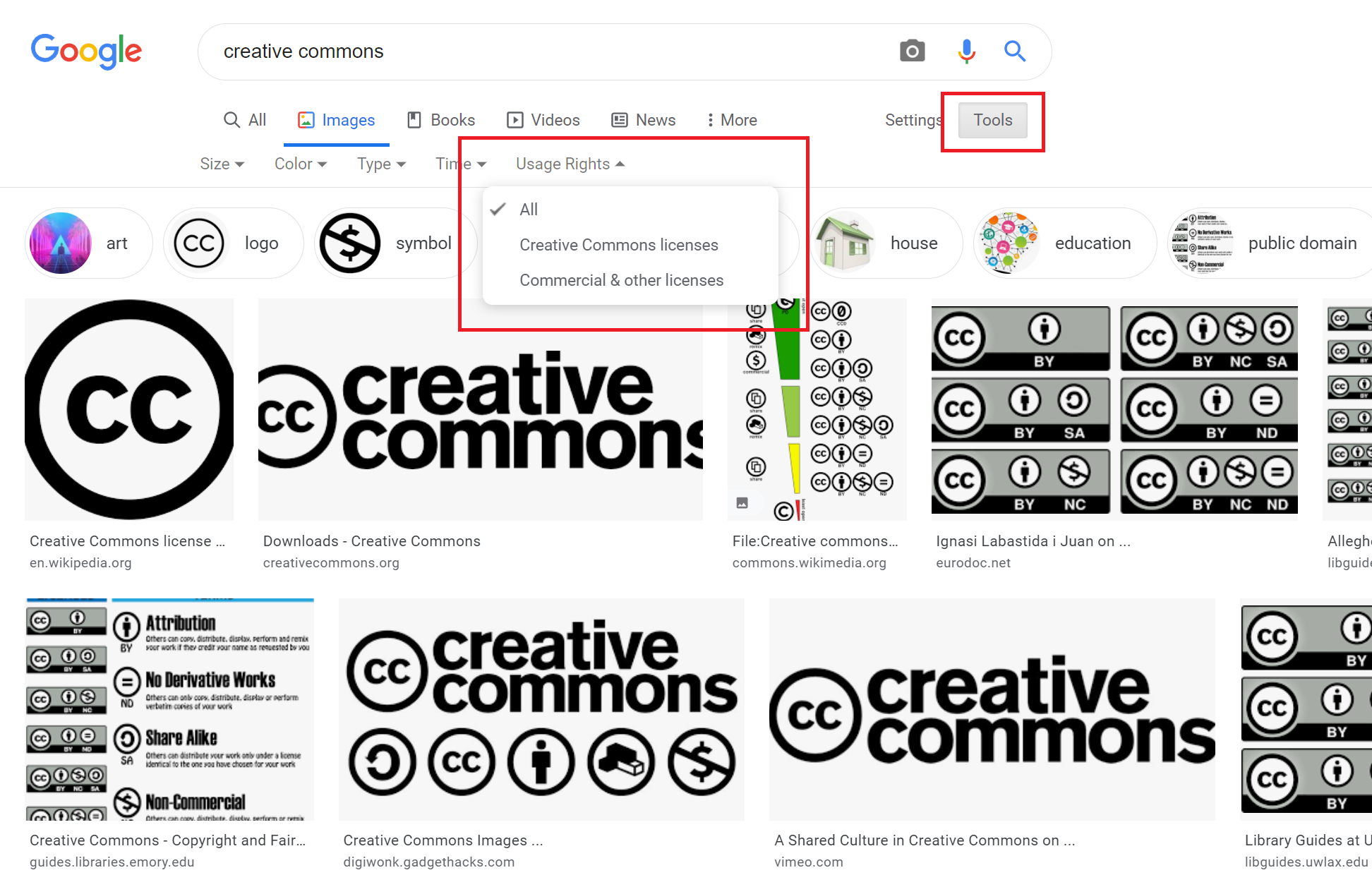 A screenshot of Google Image Search results showing how to filter to Creative Commons licensed material.