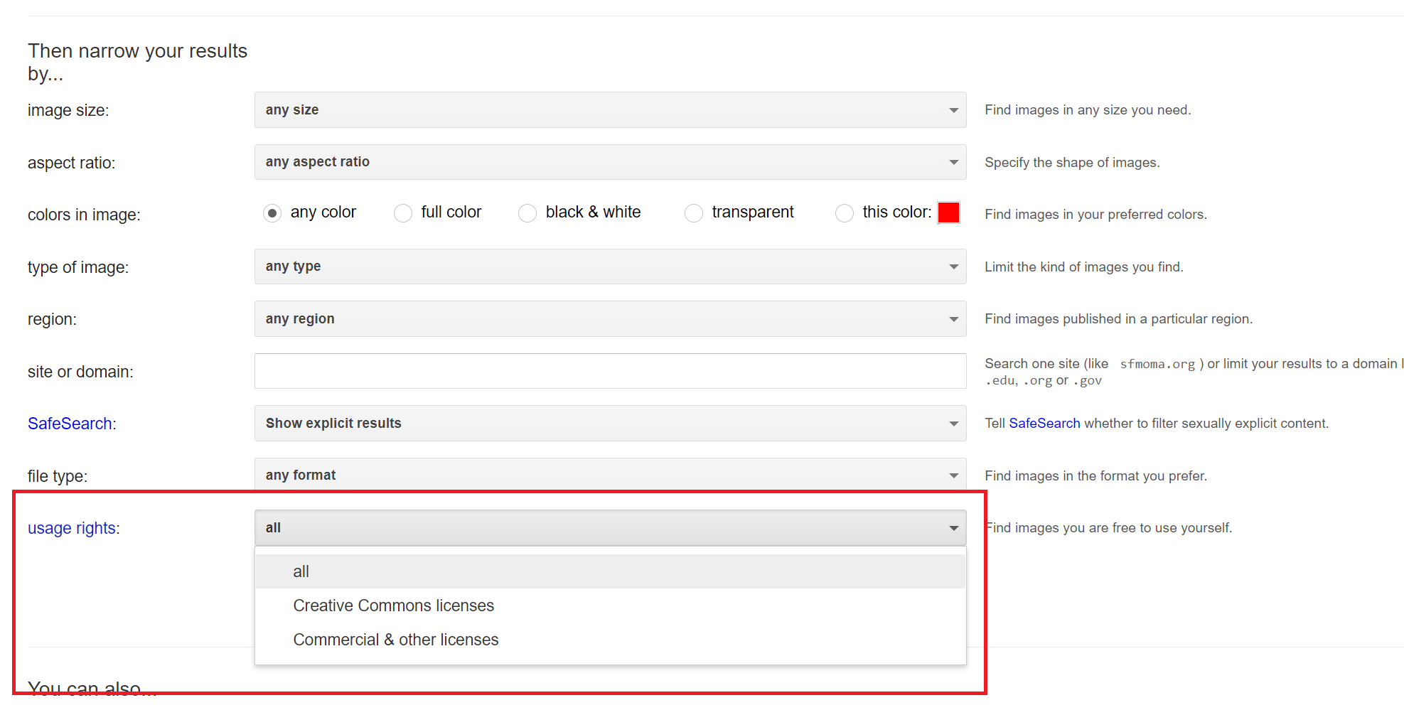 A screenshot of the Google Images advanced search form showing how to filter to Creative Commons licensed material.
