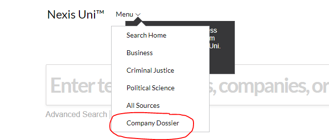 Select Company Dossier from the top drop-down menu