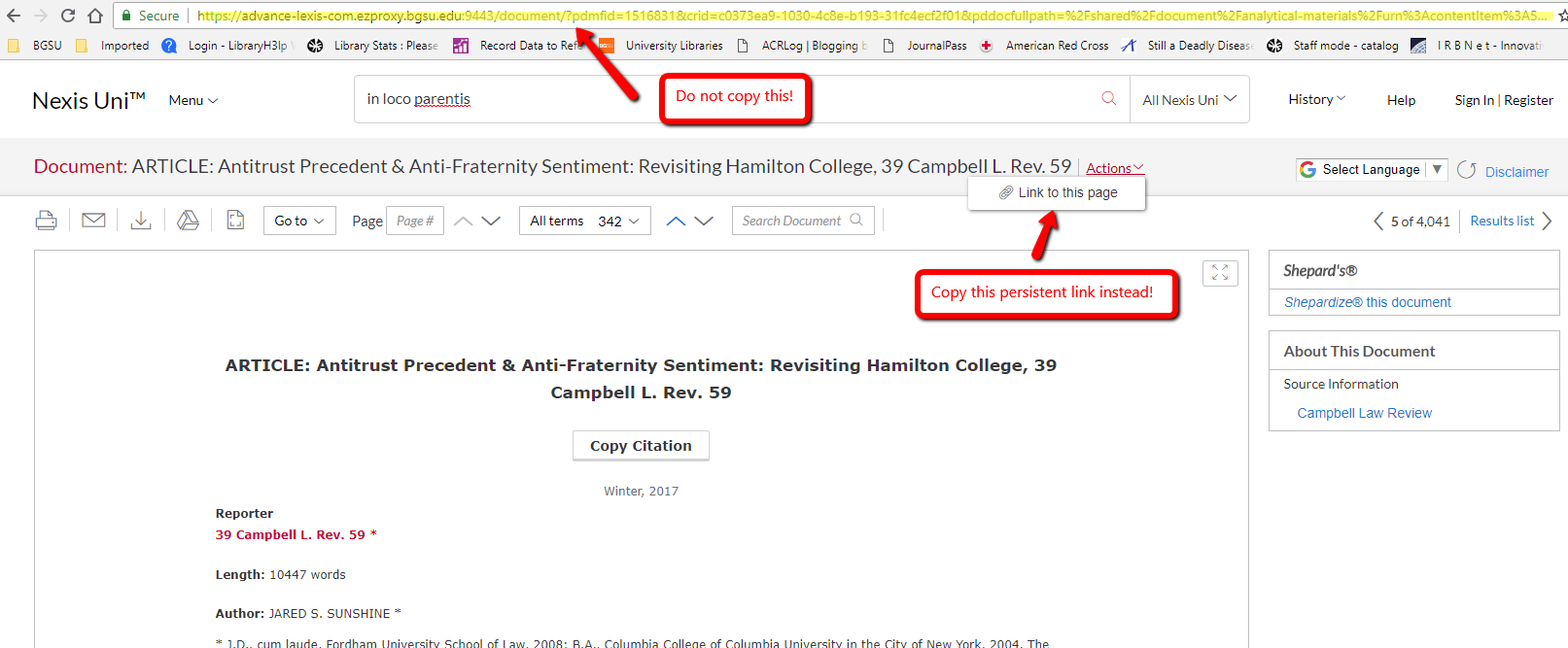 Nexus Uni screenshot showing how to get a persistent link: Don't copy this (address bar), copy this link instead!
