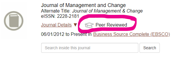 """Image of entry of the Journal of Management and Change with an graduation cap icon and """"Peer-Reviewed"""" text"""