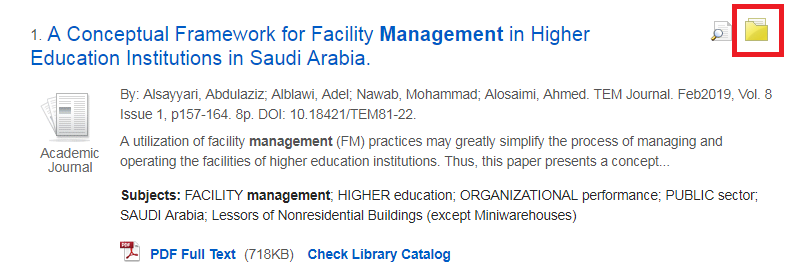 Yellow folder icon in EBSCOhost