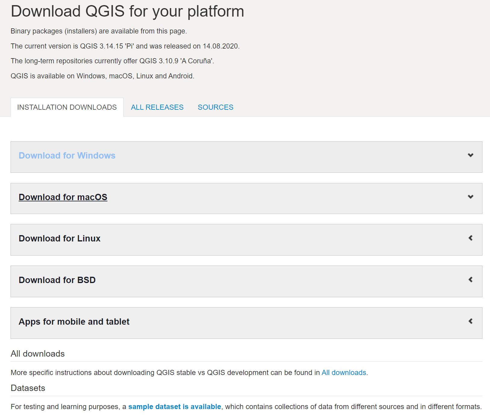 QGIS Downloads