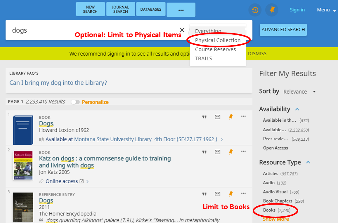 screenshot showing how to limit results to books
