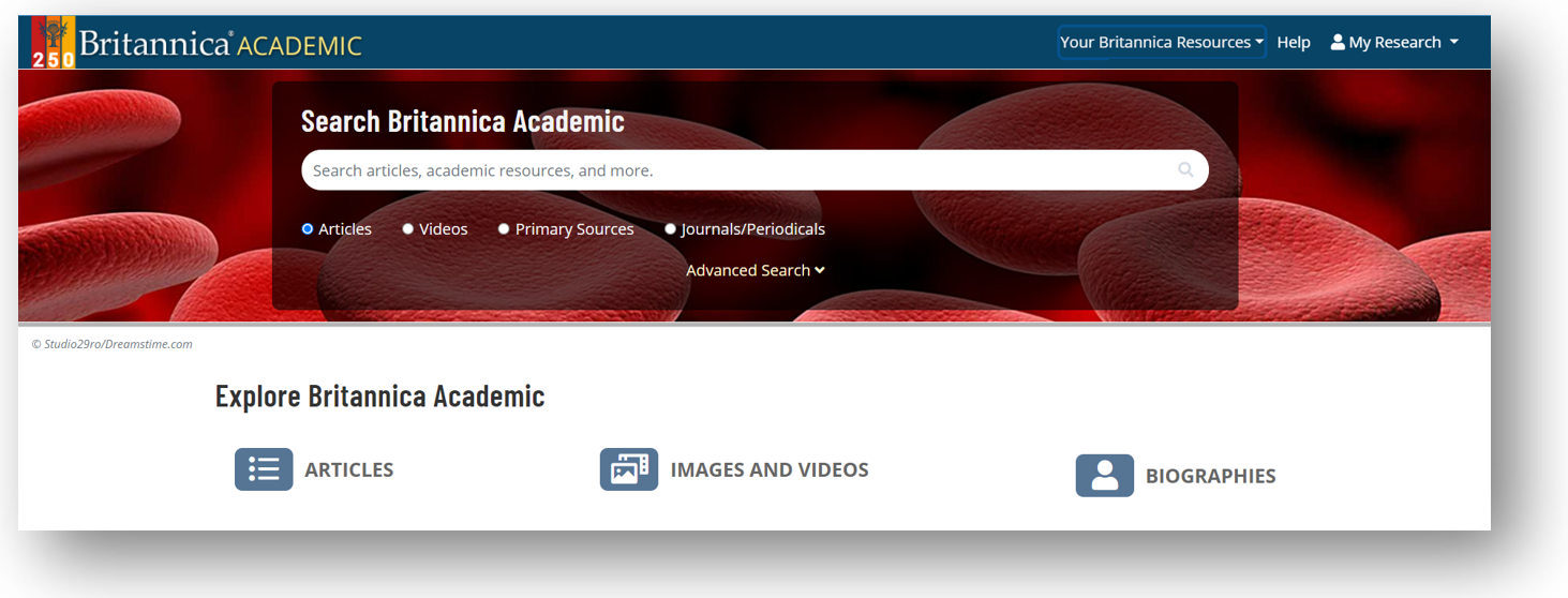 Britannica Academic search header. Search box with red blood cells in background
