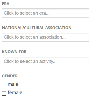 Britannica Online filters: Era, National/Cultural Association, Known for, Gender: Male or Female