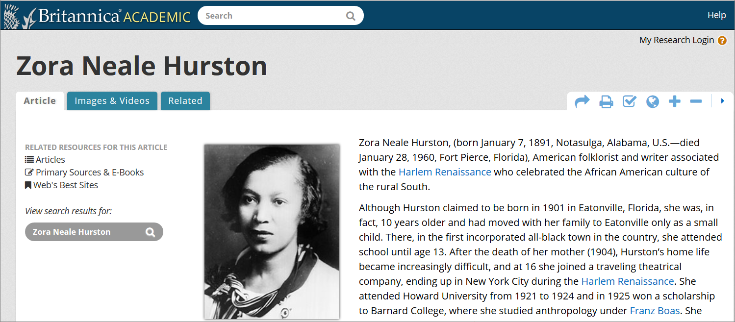 Example article: Zora Neale Hurston in Britannica Online