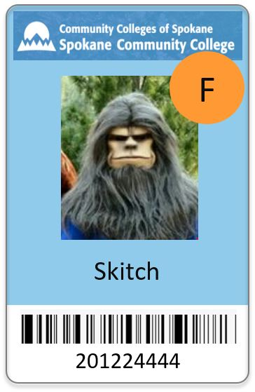 SCC ID Card for Skitch, orange F sticker, Spokane Community College logo