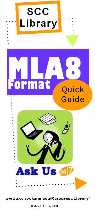 SCC Library's M.L.A.8 Format Quick Guide