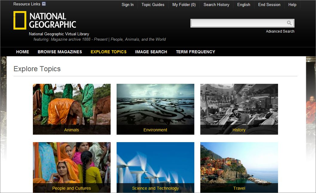 National Geographic database screen
