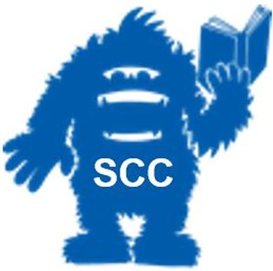 SCC logo, Skitch holding book