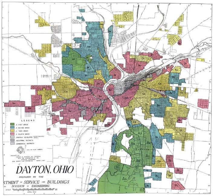 1940 HOLC map of Dayton, Ohio