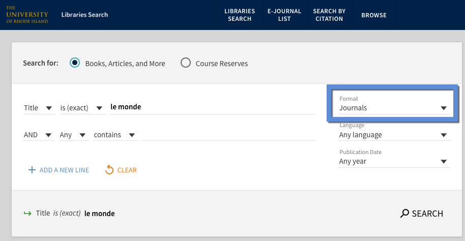 Title search for Le Monde in URI Libraries Search Advanced Search