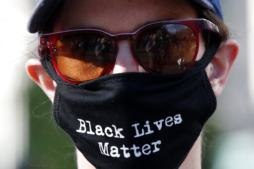 Person wearing a Black Lives Matter face mask