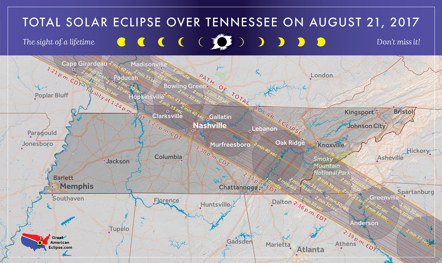 Map of Eclipse Viewing in TN from greatamericaneclipse.com
