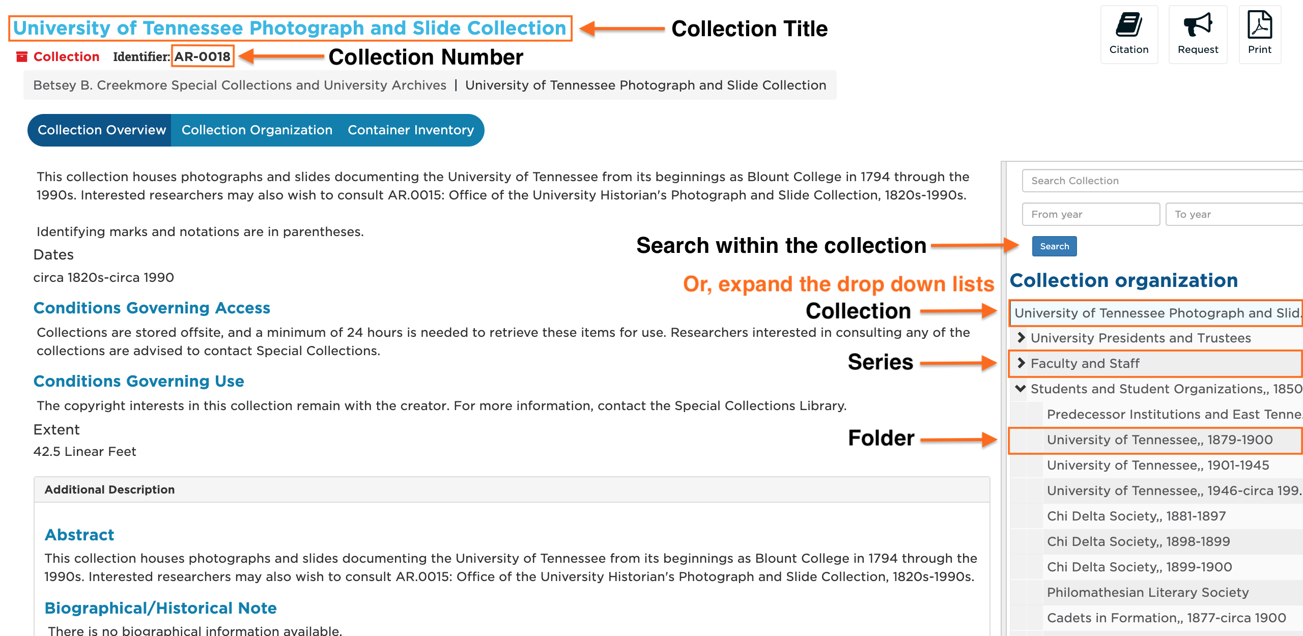 A screenshot showing where the collection title, collection number, series, and folder are on the collection title page.