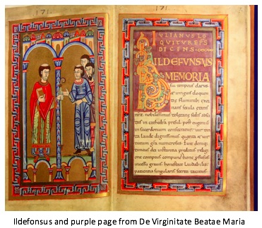scan of the ildefonsus and purple page from De Virginitate Beatae maria, which features building structures, full figured men, and illustrations