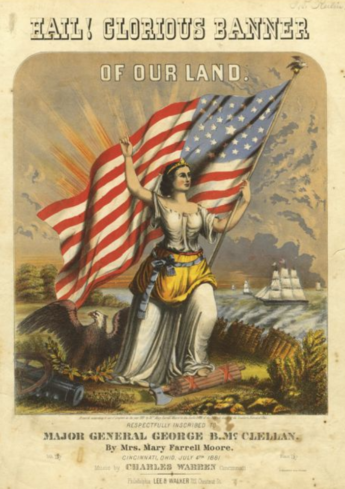 Colorful sheet music cover of a Civil War era song showing Columbia holding the United States flag, an eagle, ships and weapons.