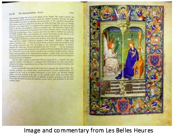 photograph of a page and accompanying commentary from Les Belles Heures