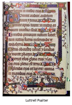 photograph of a page from the Lettrell Psalter with illustrations surrounding and between lines of text.