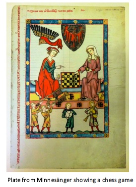 full color photograph of a plate from from Minnesänger showing a chess game between a man and woman, with musicians below.