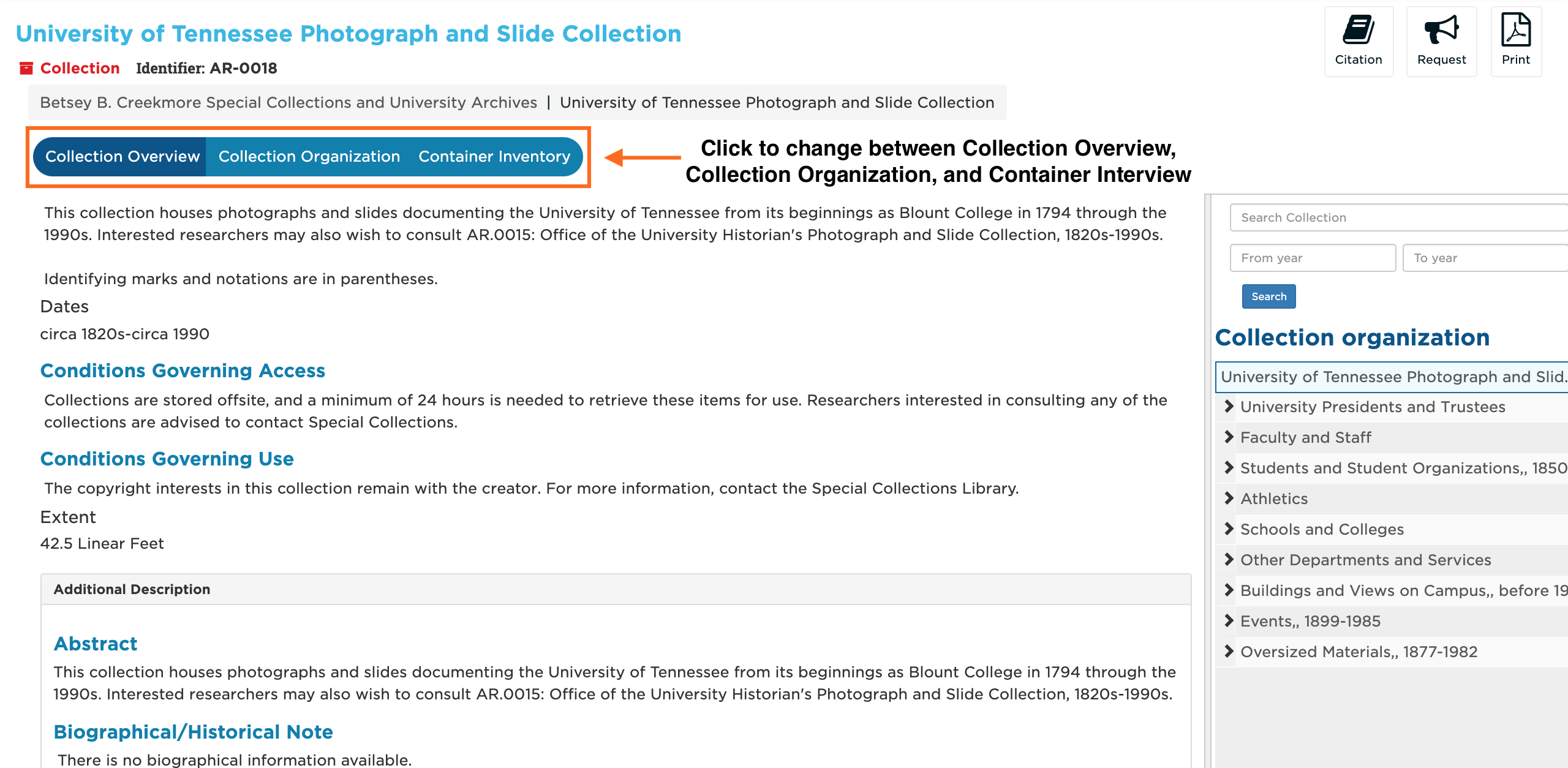 Screenshot marked up to show where to change the Collection Overview, Collection Organization, and Container Inventory