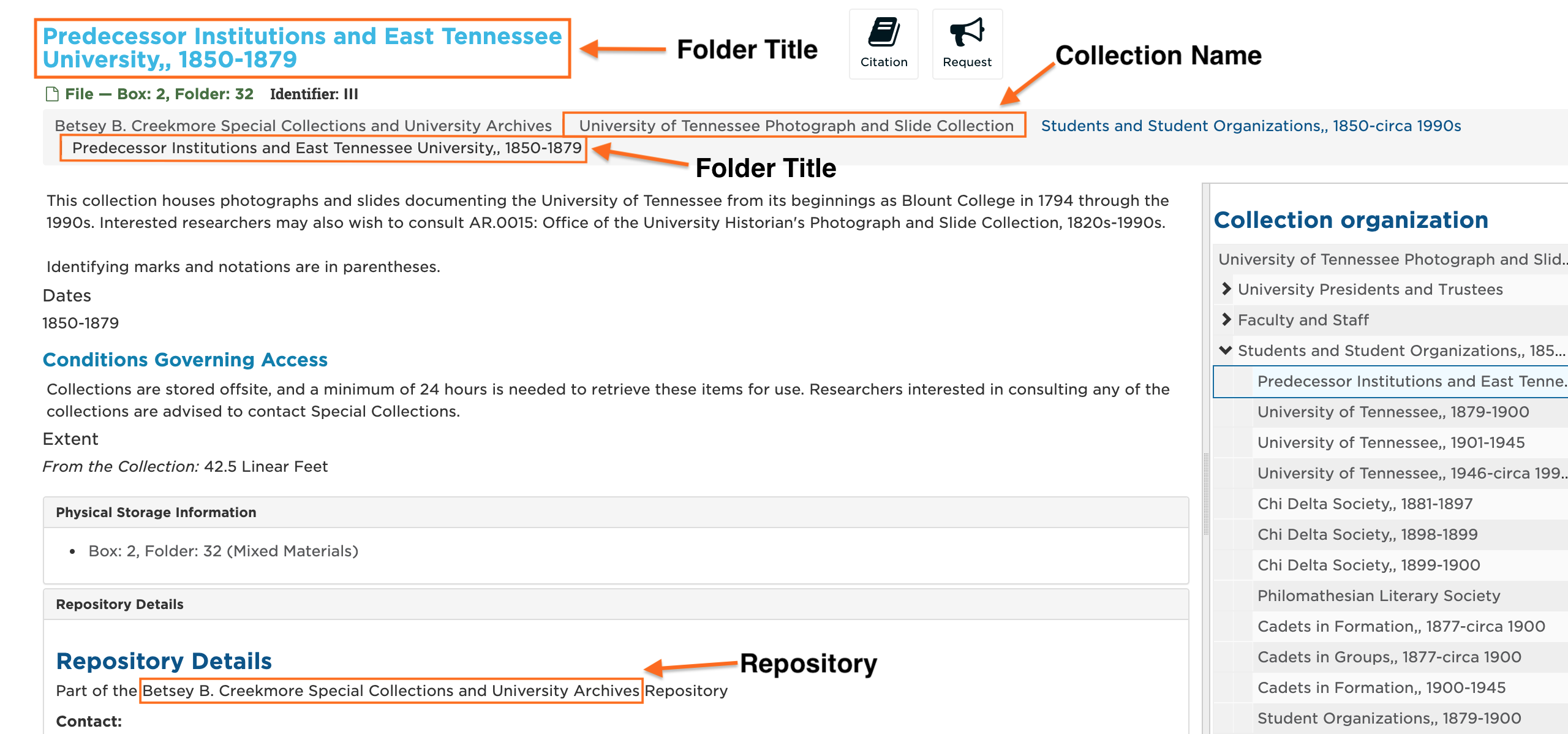 screenshot of the item/folder level of SCOUT identifying the folder title, collection name, and repository