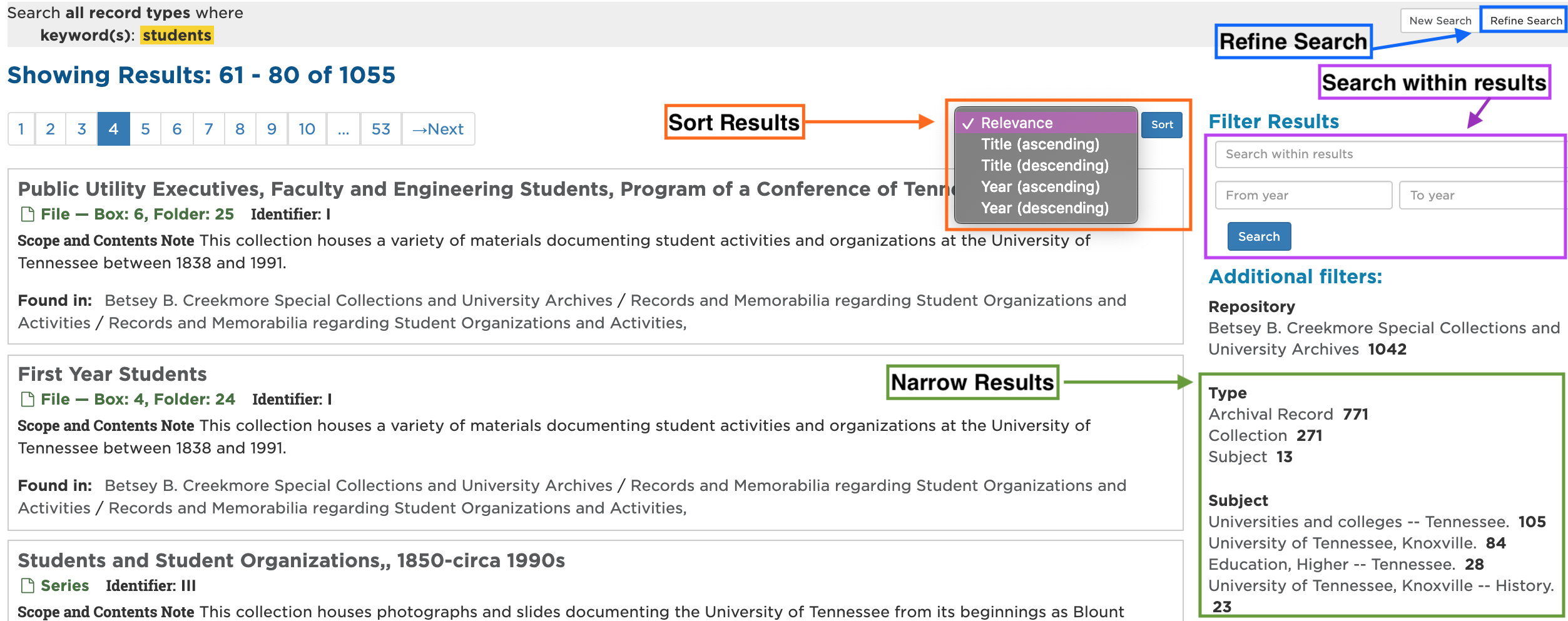Screenshot marked up to show where/how to refine search, search within results, sort results, and narrow results further.