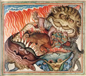colorful illustration of an illuminated manuscript in which monsters are consuming unidentified animals.