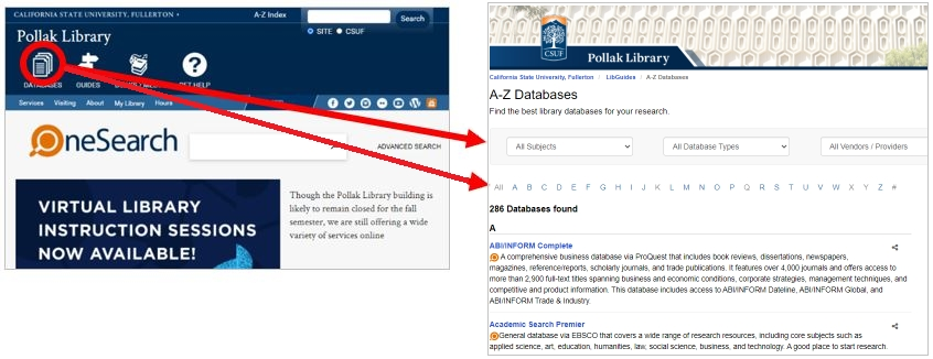 screenshot of finding articles page of the Library Hompage