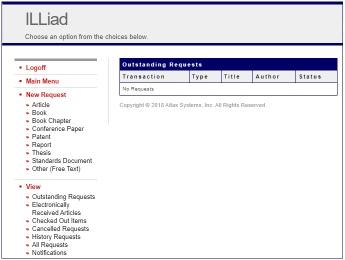 screenshot of ILL page