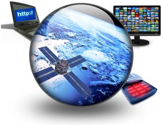 graphic of communications TV, satelite, & computer