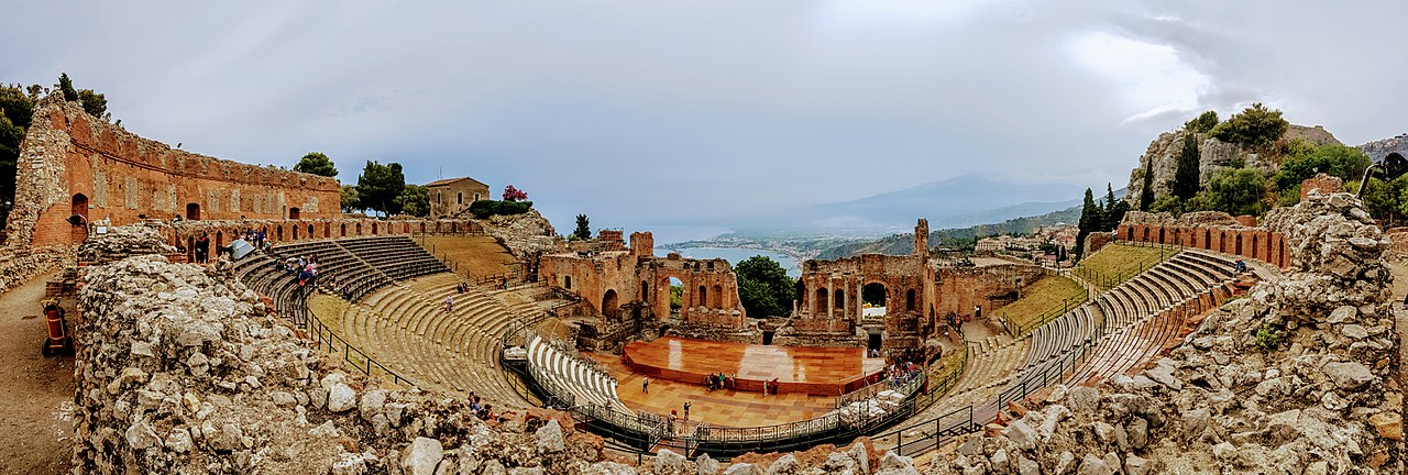 Ancient Greek theatre in Taormina, Italy by CHMunro Creative Commons Attribution-Share Alike 3.0 Unported