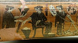 Gynaeceum scene: women weaving. Detail from an Attic black-figure epinetron