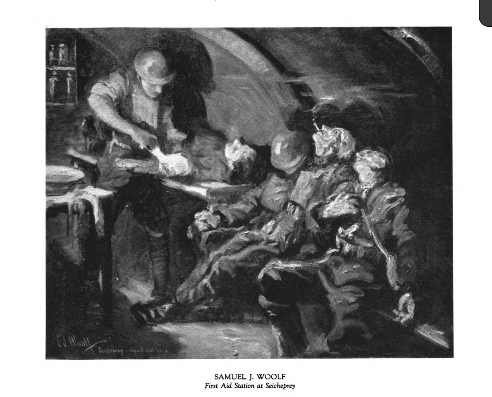Solders underground tending to the wounded Artist Samuel J. Woolf