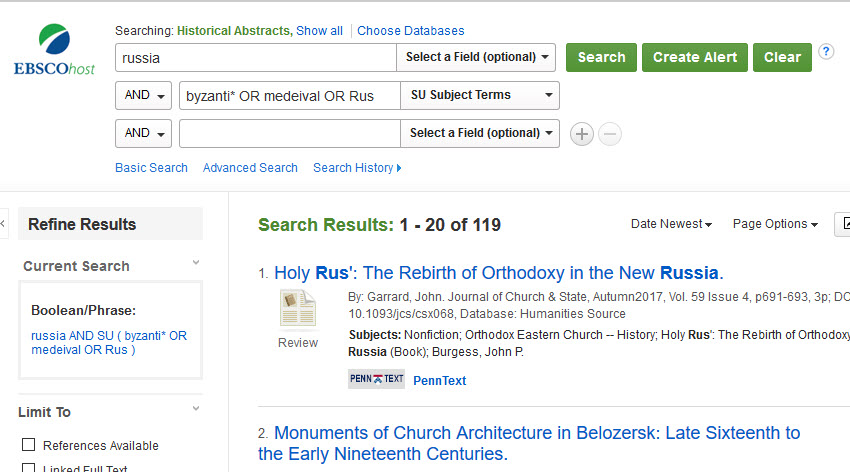 searching humanities source and historical abstracts