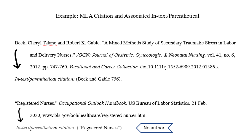 Examples of MLA in-text citations