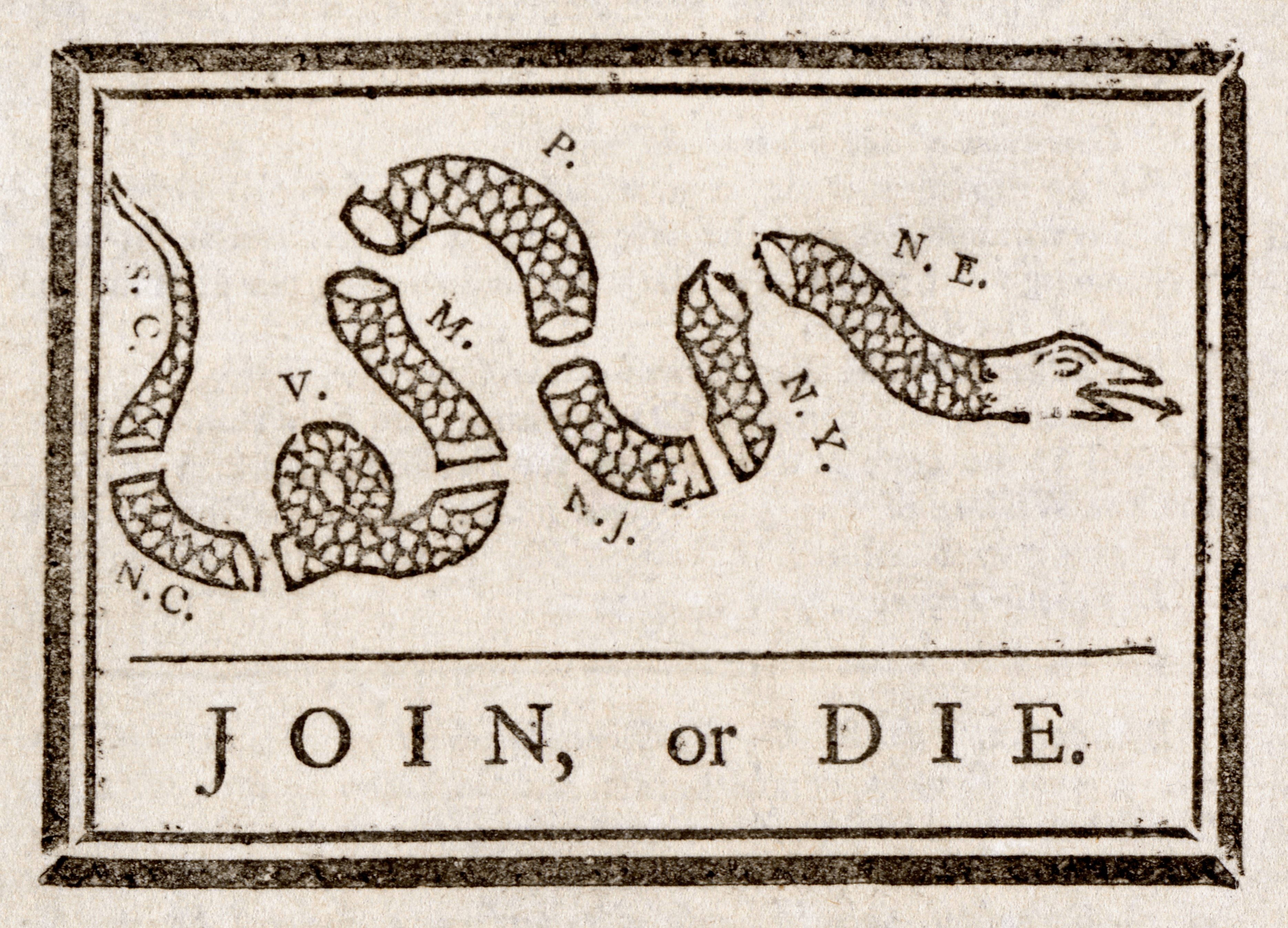 """A famous cartoon attributed to Benjamin Franklin, showing a snake divided into eight segments, above the words """"Join or Die"""""""