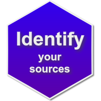 "Badge with the words ""Identify your sources"""