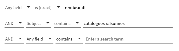 """A screenshot of a Quest search, showing the name Rembrandt on the first line, and the term """"catalogues raisonnes"""" as a Subject on the second line"""