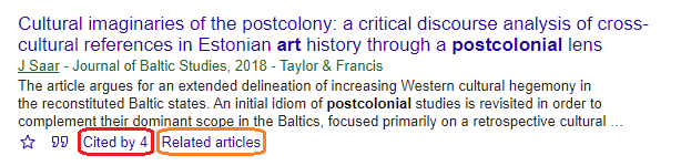 A screenshot of an item record in Google Scholar, showing the Cited By and Related Items links