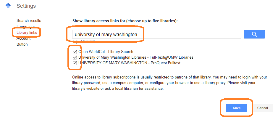 """The Library Links page within Google Scholar settings, showing """"university of mary washington"""" in the search box, and all the checkboxes checked"""