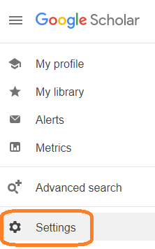 """The Google Scholar menu, with """"Settings"""" highlighted"""