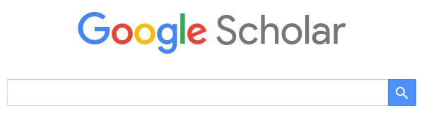 A screenshot of the Google Scholar home page, showing the logo and searchbox