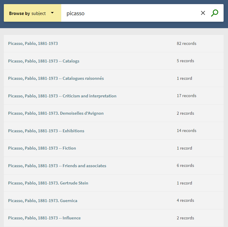 """A screenshot of the Browse by Subject page, with """"Picasso"""" in the search box and a long list of subjects relevant to Picasso below"""